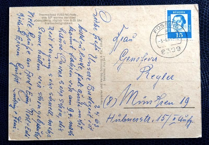 Project Postcard April 1963 - thermal baths in Füssing Bavaria Germany back