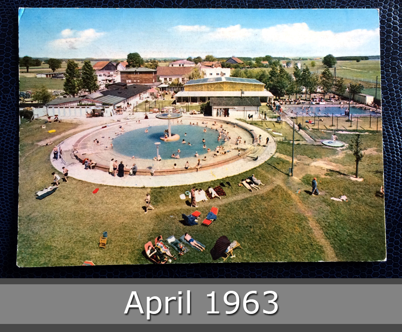 Project Postcard April 1963 - thermal baths in Füssing Bavaria Germany front