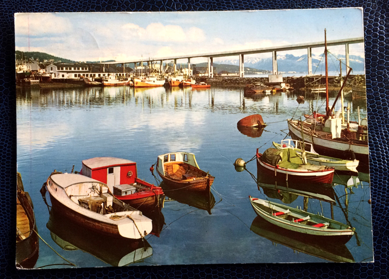 Project Postcard August 1963 - Tromso, Norway, view of the harbour towards the bridge