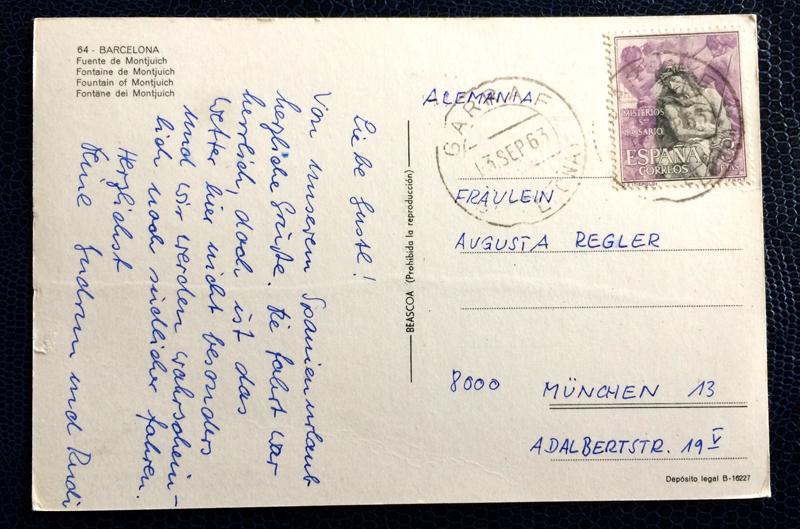 Project Postcard September 1963 - Barcelona, Spain, Fountain of Montjuich back