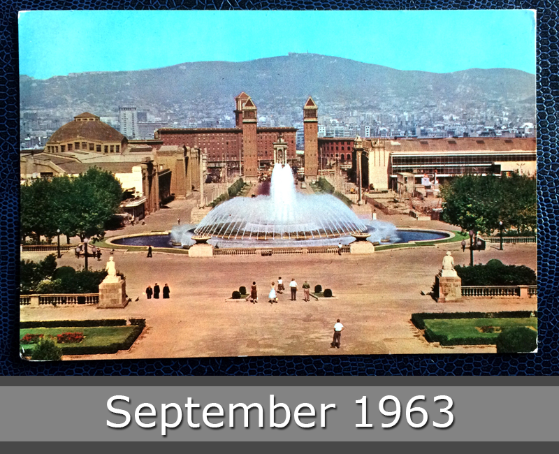 Project Postcard September 1963 - Barcelona, Spain, Fountain of Montjuich front