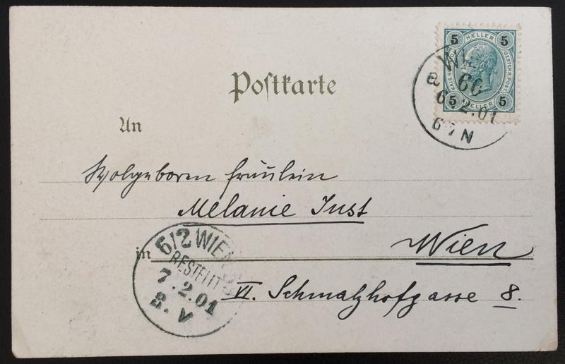 Project Postcard February 1901 - Vienna Wien Austria Schönbrunn back