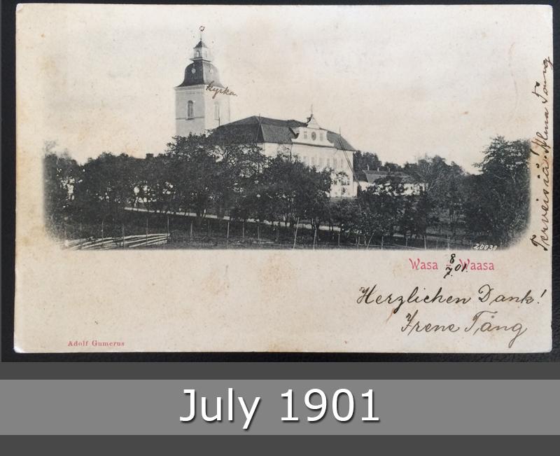 Project Postcard July 1901 - Waasa Wasa Vasa Finland Church front