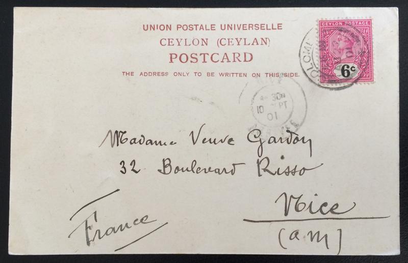 Project Postcard September 1901 - Colombo Ceylon Ginricksha back