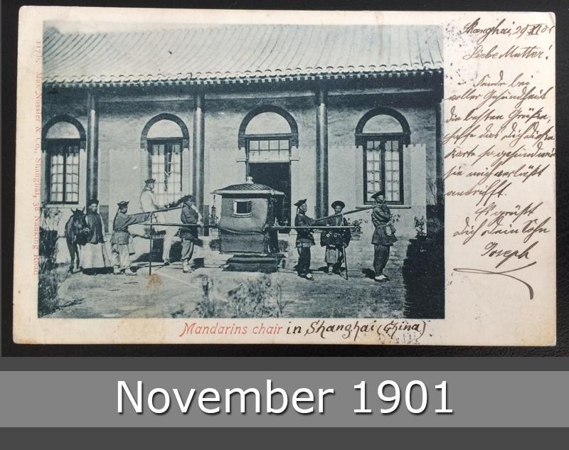 Project Postcard November 1901 - Mandarins Chair Shanghai China front okay