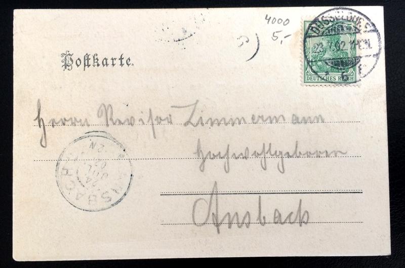 Project Postcard July 1902 - Dusseldorf Düsseldorf Germany Gewerbeausstellung back