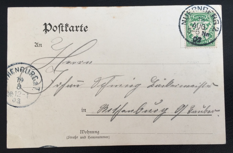 Project Postcard August 1902 - Nuremberg Nürnberg Germany Museum back