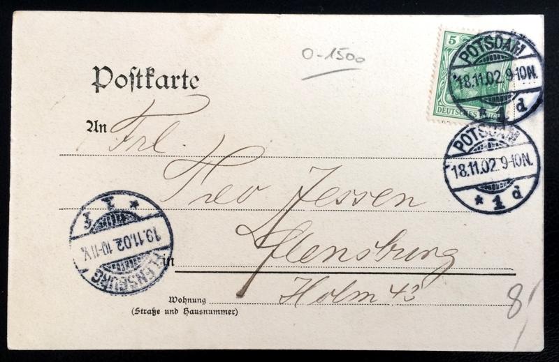 Project Postcard November 1902 - Potsdam Germany back