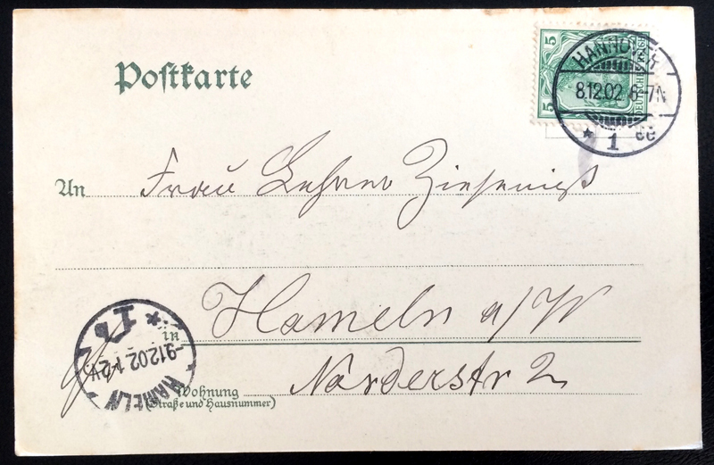 Project Postcard December 1902 - Hannover Germany Ernst-August-Platz in Winter back