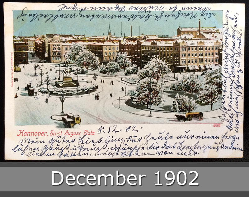 Project Postcard December 1902 - Hannover Germany Ernst-August-Platz in Winter front okay