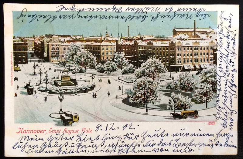 Project Postcard December 1902 - Hannover Germany Ernst-August-Platz in Winter front